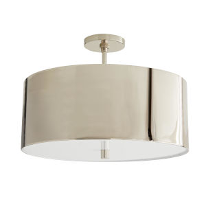 Tarbell Polished Nickel Three-Light Semi Flush
