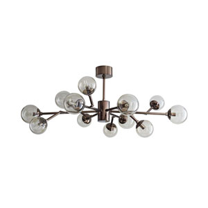 Dallas Brown Nickel 35-Inch 12-Light Mini Chandelier