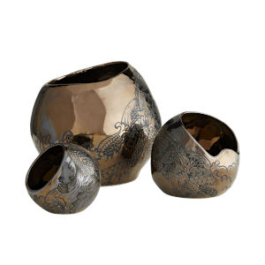 Frank Ponterio Bronze Flint Containers, Set of Three