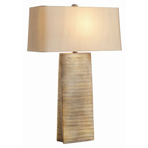 Ravi Gold One Light Table Lamp with Rectangular Taupe Sheer Shade