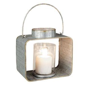 Small Galvanized Lantern Candle Holder