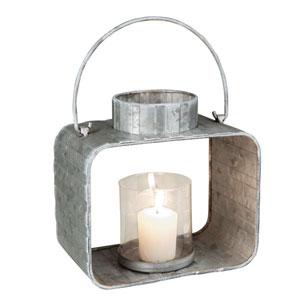 Large Galvanized Lantern Candle Holder