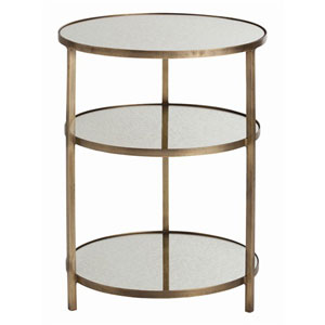 Percy Antique Brass and Mirror End Table