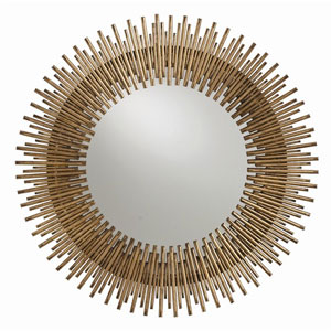 Prescott Round Antiqued Gold Leaf Iron Mirror