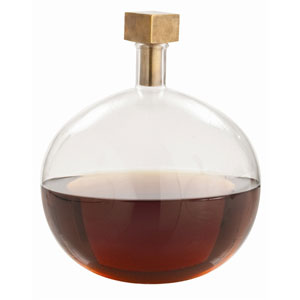 Edgar Clear 10.5-Inch Round Glass Bottle with Cube Stopper Decanter