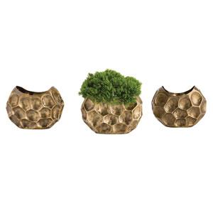 Dakota Antique Brass Vases, Set of Three