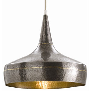 Mason Dark Natural Iron One Light Wide Hammered Pendant