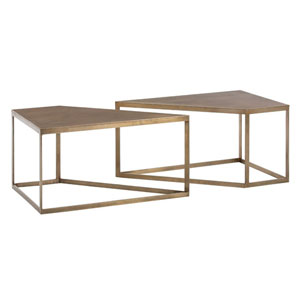 Austin Antique Brass 40-Inch Coffee Table Set