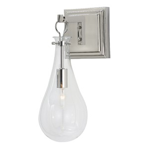 Sabine Clear One-Light Wall Sconce with Polished Nickel Back Plate