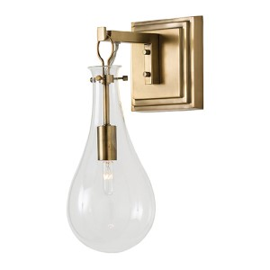 Sabine Clear One-Light Wall Sconce with Antique Brass Back Plate