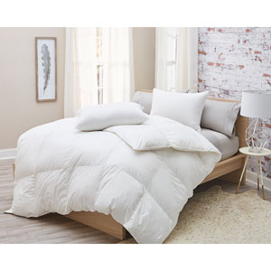850 Fill Power Siberian White Goose King Down German Batiste Cotton Comforter
