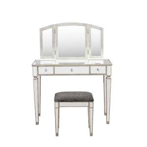 Eleanor Silver Gray Mirrored Vanity Set