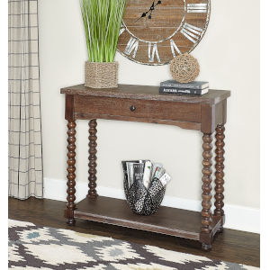 Olivia Brown Spindle Console Table