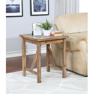 Charlotte Rustic Brown Acacia End Table