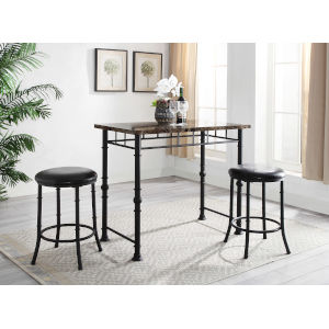 Winsome Cora 3pc Round Pub Table w//2 Swivel Stools 76383 Table and Stool NEW
