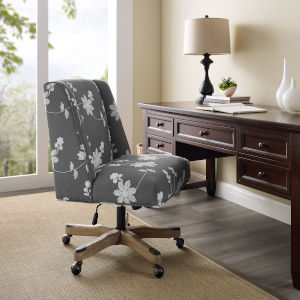 Logan Gray Embroidered Office Chair
