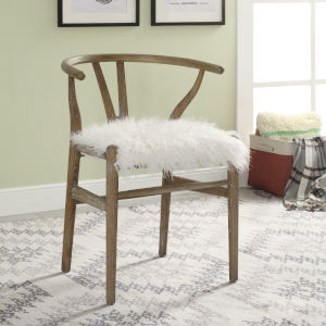 Ethan Gray Brown Wishbone Chair