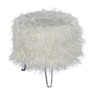 Camila White Faux Fur Hair Pin Stool