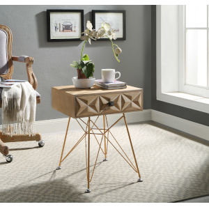 Madison Natural and Gold One Drawer Accent Table