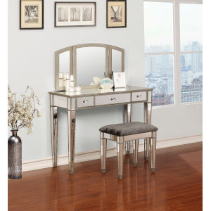 Claire Silver Mirrored Vanity Set