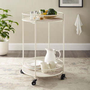 Benjamin Rustic Wood and Wire Medallion Rolling Cart
