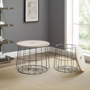 Benjamin Rustic Wood and Wire Medallion Nesting Basket Tables