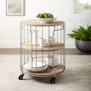 Benjamin Rustic Wood and Wire Three Tiered Metal and Wood Rolling Cart