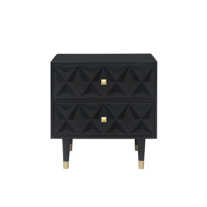 Geo Black Two-Drawer Nightstand