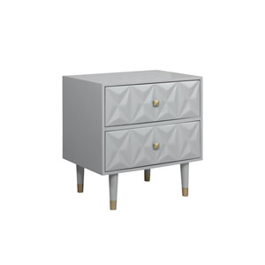 Geo Gray Two-Drawer Nightstand