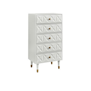 Geo White Five-Drawer Dresser Chest