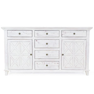 Bianca Rustic White Six-Drawer Dresser Chest