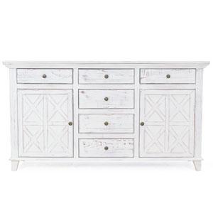 Luke Rustic White Six-Drawer Dresser Chest