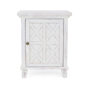 Bianca Rustic White One-Door Nightstand