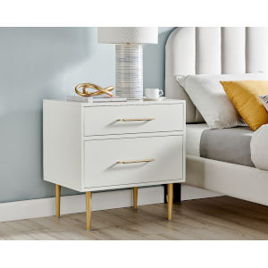Gloria White Gold Two-Drawer Nightstand