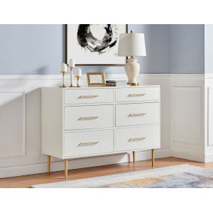 Gloria White Gold Six-Drawer Dresser