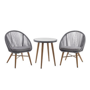 Genesis Charcoal and Brown Bistro Set, 3 Piece