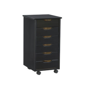 Cary Black Six-Drawer Rolling Storage Cart