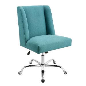 James Mermaid Blue Upholstered Swivel Office Chair