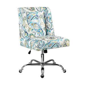 James Blue Paisley Upholstered Swivel Office Chair