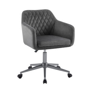 Imogen Gray and Silver Quilted Office Chair