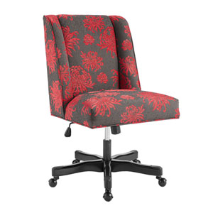 Draper Red Floral Office Chair