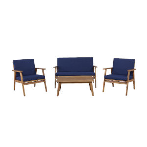 Cole Outdoor Chat 4-Piece Seating Set with Blue Cushions