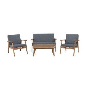 Cole Outdoor Chat 4-Piece Seating Set with Grey Cushions