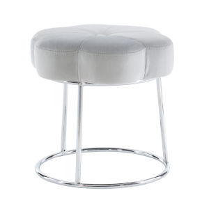 Peggy Chrome Gray 18-Inch Vanity Stool