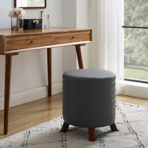 Rivard Gray and Walnut Faux Leather Round Stool
