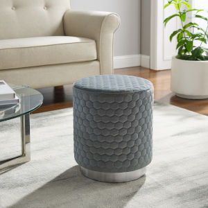 Camber Silver Gray Round Upholstered Ottoman