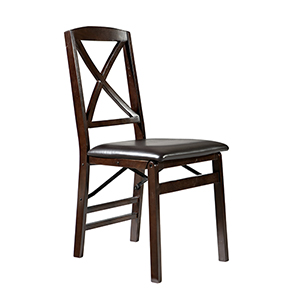 Triena Espresso Back Folding Chairs - Set of Two