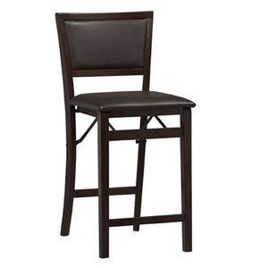 Triena Espresso Pad Back Folding Counter Stool