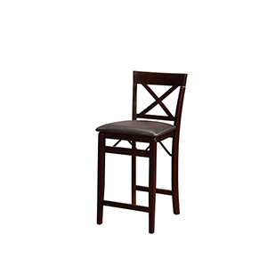 Triena Espresso Back Folding Counter Stool