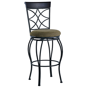 Curves Metallic Brown and Brown Wood 24-Inch Bar Stool